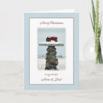 Tractor Christmas Mom and Dad Holiday Card