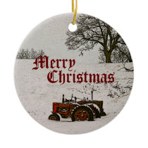 Tractor Christmas Ornament