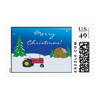 Tractor Christmas Postage: Red Tractor Barn Scene Postage