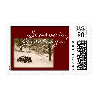 Tractor Christmas Postage Stamp