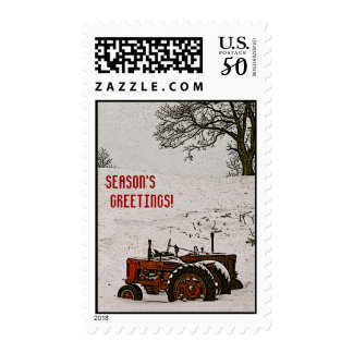 Tractor Christmas Postage Stamp: Tractors & Tree