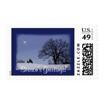 Tractor Christmas Postage: Tree, tractor & star Postage