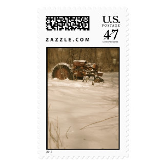 Tractor Christmas Stamp