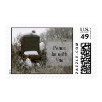 Tractor Christmas Stamp: Peace be with you Postage