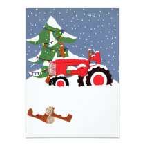 Tractor Christmas Wedding Invitation