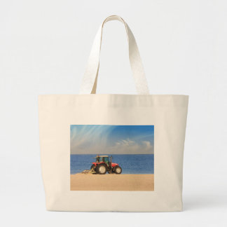 Tractor Cleaning the Beach Large Tote Bag
