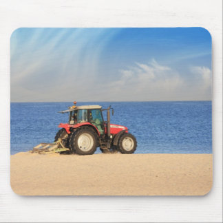Tractor Cleaning the Beach Mouse Pad