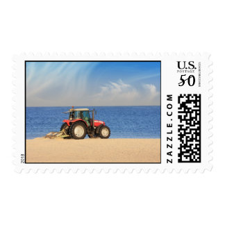 Tractor Cleaning the Beach Postage