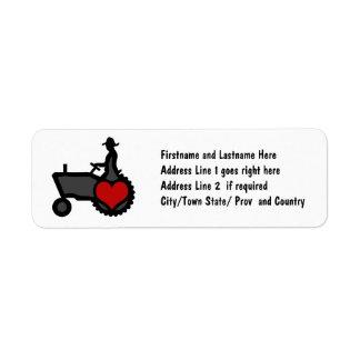 Tractor con amor del corazón el país etiqueta de remite