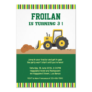 Tractor Construction Stripes Birthday Invitation