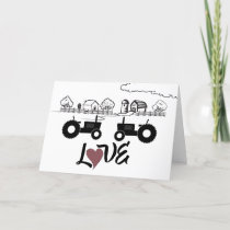 Tractor Couple in LOVE Farm Happy Valentine's Day Holiday Card