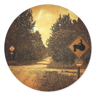 Tractor Crossing Classic Round Sticker