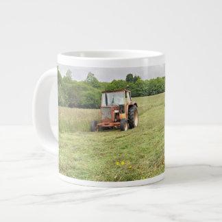 Tractor cutting hay jumbo mug 20 oz large ceramic coffee mug