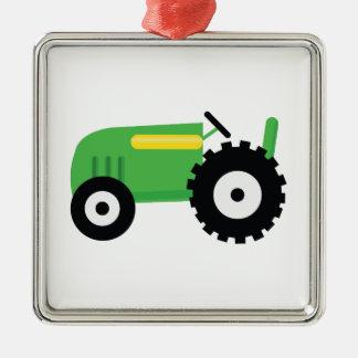 Tractor de cultivo adorno navideño cuadrado de metal
