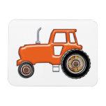 Tractor de granja anaranjado iman de vinilo