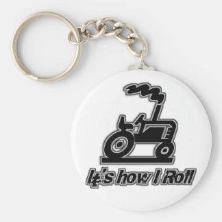 Tractor de granja cómo ruedo llavero redondo tipo pin