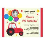 Tractor de granja con la foto del cumpleaños de invitación 11,4 x 15,8 cm