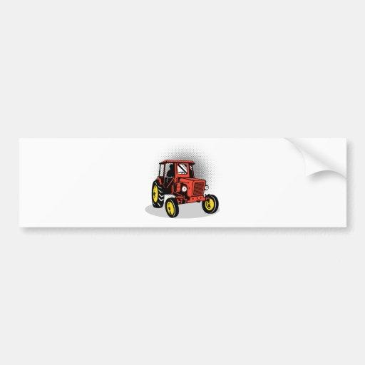 Tractor de granja del vintage etiqueta de parachoque