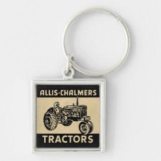 Tractor de granja del vintage llavero cuadrado plateado