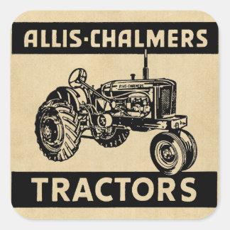 Tractor de granja del vintage pegatina cuadrada