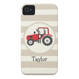 Tractor de granja rojo en rayas del moreno iPhone 4 Case-Mate carcasa