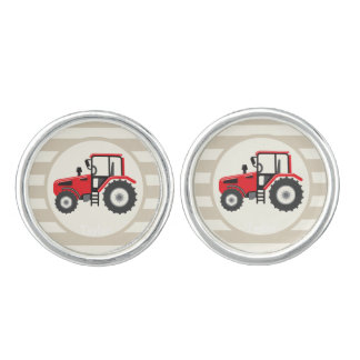Tractor de granja rojo en rayas del moreno mancuernillas