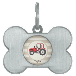 Tractor de granja rojo en rayas del moreno placa mascota