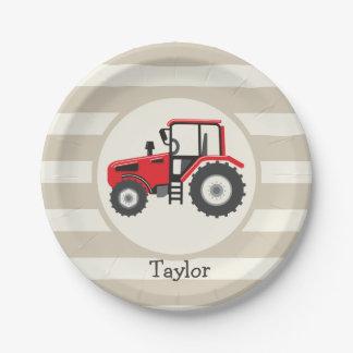 Tractor de granja rojo en rayas del moreno platos de papel