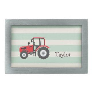 Tractor de granja rojo hebilla de cinturon rectangular