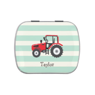 Tractor de granja rojo jarrones de caramelos