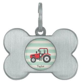 Tractor de granja rojo placas mascota