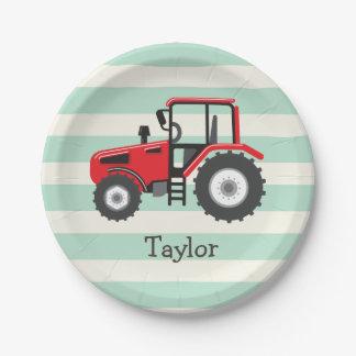 Tractor de granja rojo plato de papel de 7 pulgadas