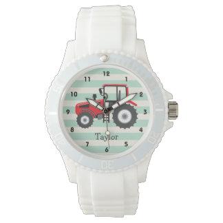 Tractor de granja rojo reloj de mano