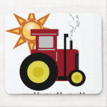 Tractor de granja rojo tapetes de ratones