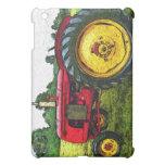 Tractor de granja rojo y amarillo