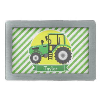 Tractor de granja verde con amarillo;  Verde y Hebilla Cinturon Rectangular