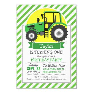 Tractor de granja verde con amarillo;  Verde y Invitación 12,7 X 17,8 Cm