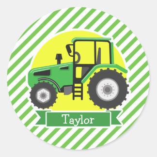 Tractor de granja verde con amarillo;  Verde y Pegatina Redonda