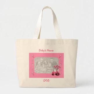 Tractor de los rosas bebés con el bolso de la foto bolsa de tela grande