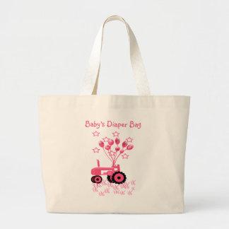 Tractor de los rosas bebés con el bolso de los glo bolsa de tela grande