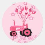 Tractor de los rosas bebés con los pegatinas de lo