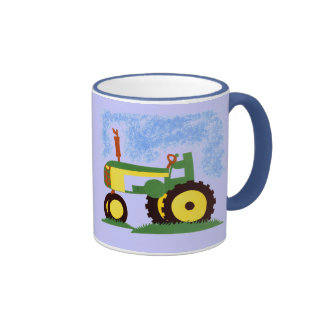 Tractor debajo del cielo azul taza a dos colores