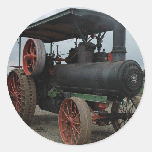 Tractor del coche de carreras pegatina redonda