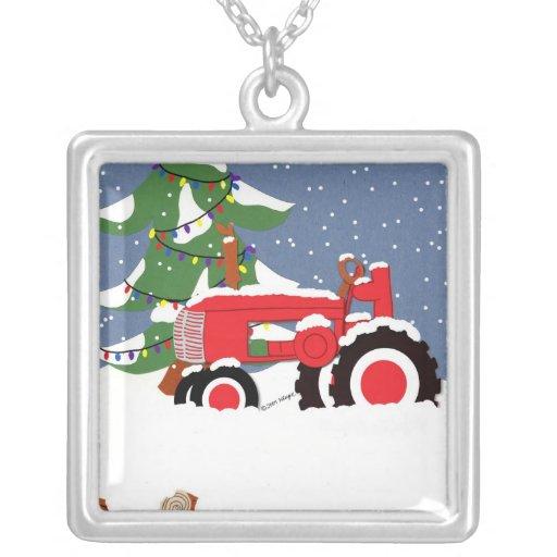 Tractor del navidad y collar del árbol