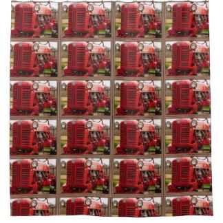 Tractor del rojo del vintage cortina de baño
