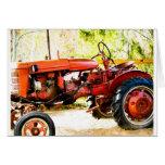 Tractor del rojo del vintage felicitación