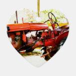 Tractor del rojo del vintage ornamentos de reyes