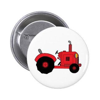 tractor del rojo del vintage pin redondo 5 cm