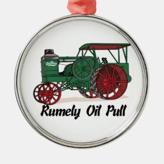 Tractor del tirón del aceite de Rumely Adorno Navideño Redondo De Metal