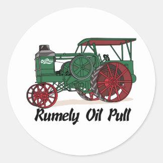 Tractor del tirón del aceite de Rumely Pegatina Redonda